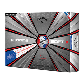 Der neue Chrome Soft X Truvis White Red Blue Golfball