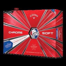 Der neue Chrome Soft Truvis White Red Blue Golfball